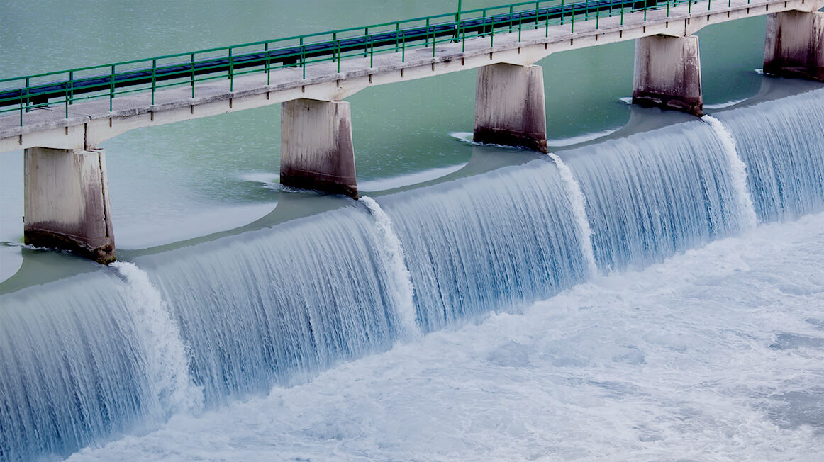 water-flowing-through-dam-hydroelectric-power