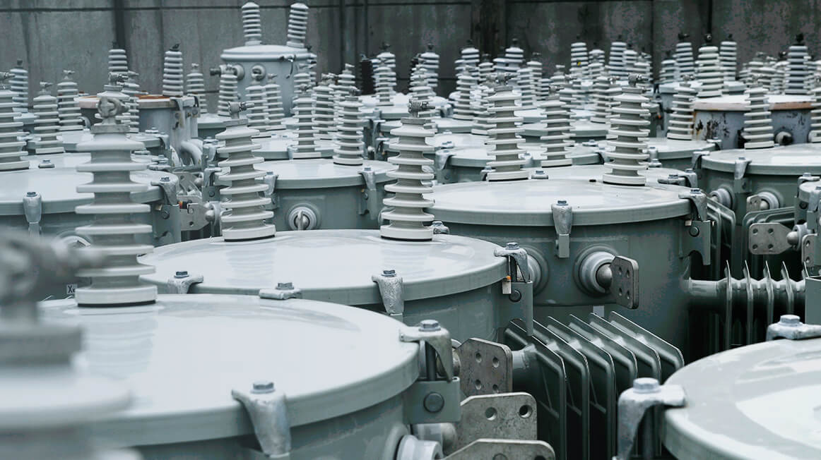 close up of several transformers