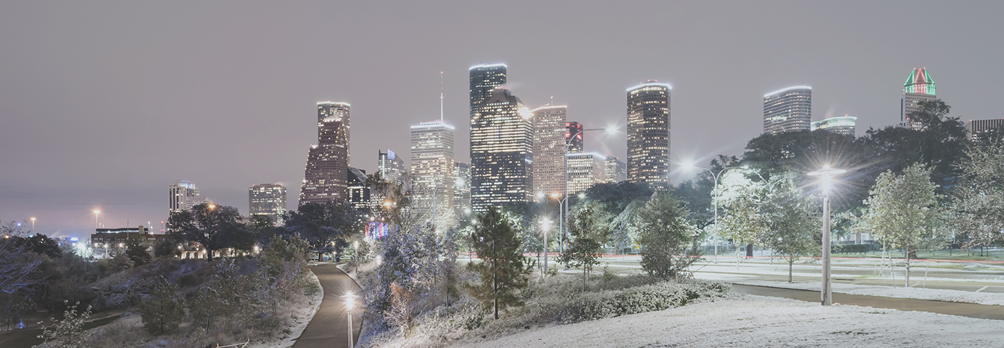 skyline of dallas texas during snow