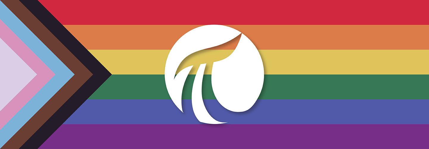 Pride flag with OSIsoft logo in the center