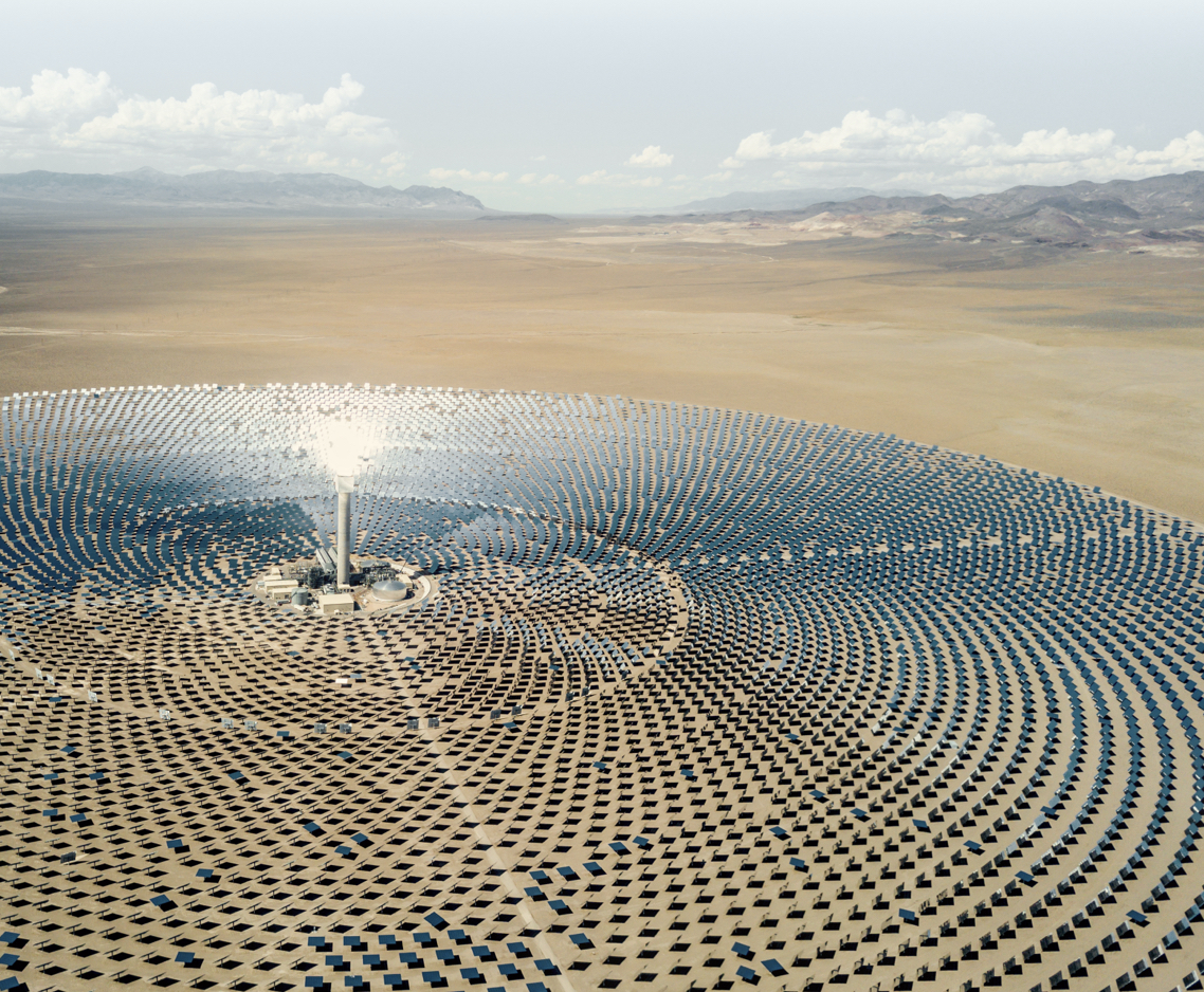 solar panel farm in the shape of a circle