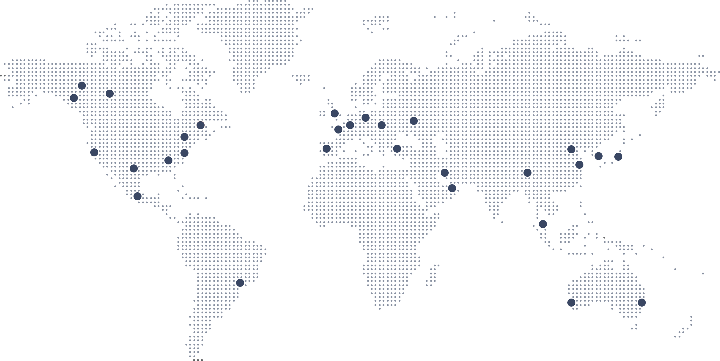 map of globe with OSIsoft office locations