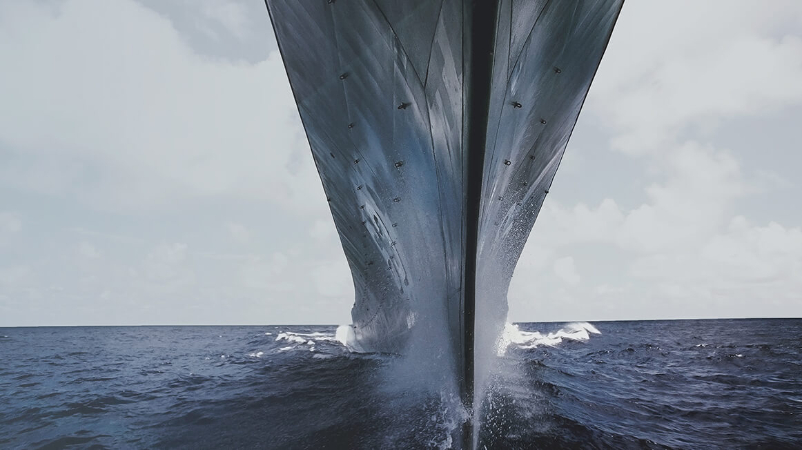 rear view of large ship in ocean