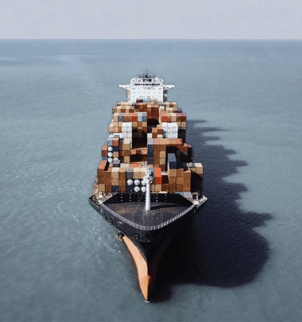 Large shipping vessel at sea